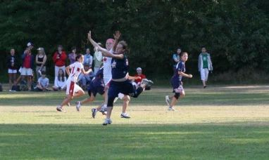 Amber with the catch against Canada